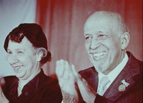 "W.E.B. Du Bois and Shirley Graham Du Bois in a still frame from ""Welcome Dr. Du       Bois"" (1959)."