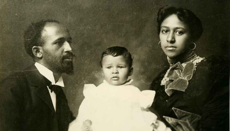 Portrait of Du Bois family, from left to right: W.E.B., his son Burghardt, and his wife Nina.