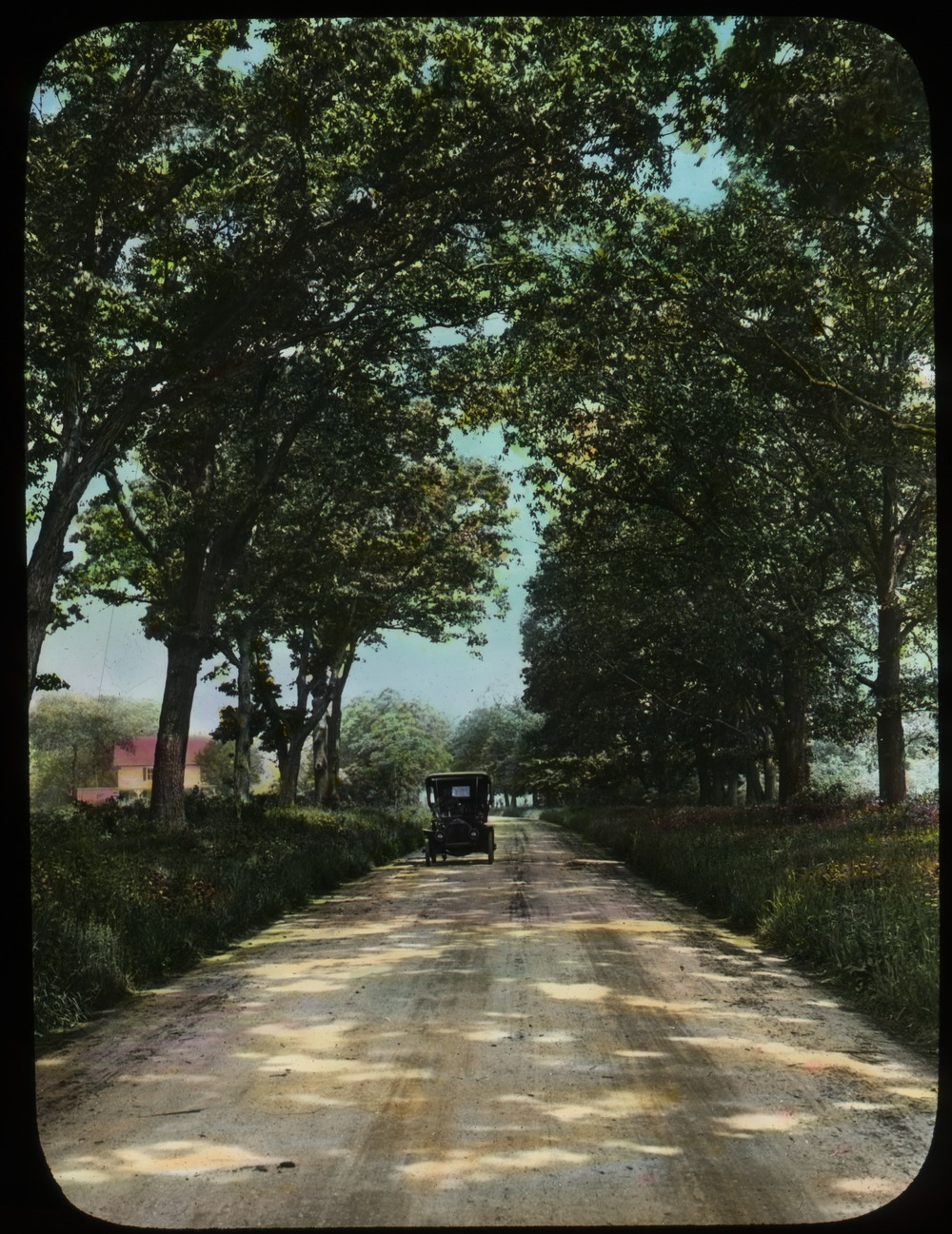 Good state road (auto on tree lined dirt road), ca. 1915