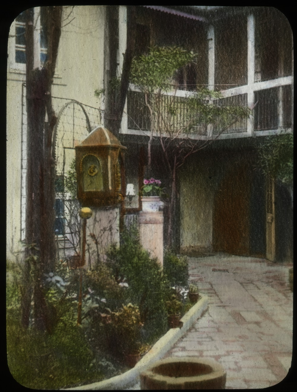 Courtyard, Vienna (stone courtyard with planting beds), undated