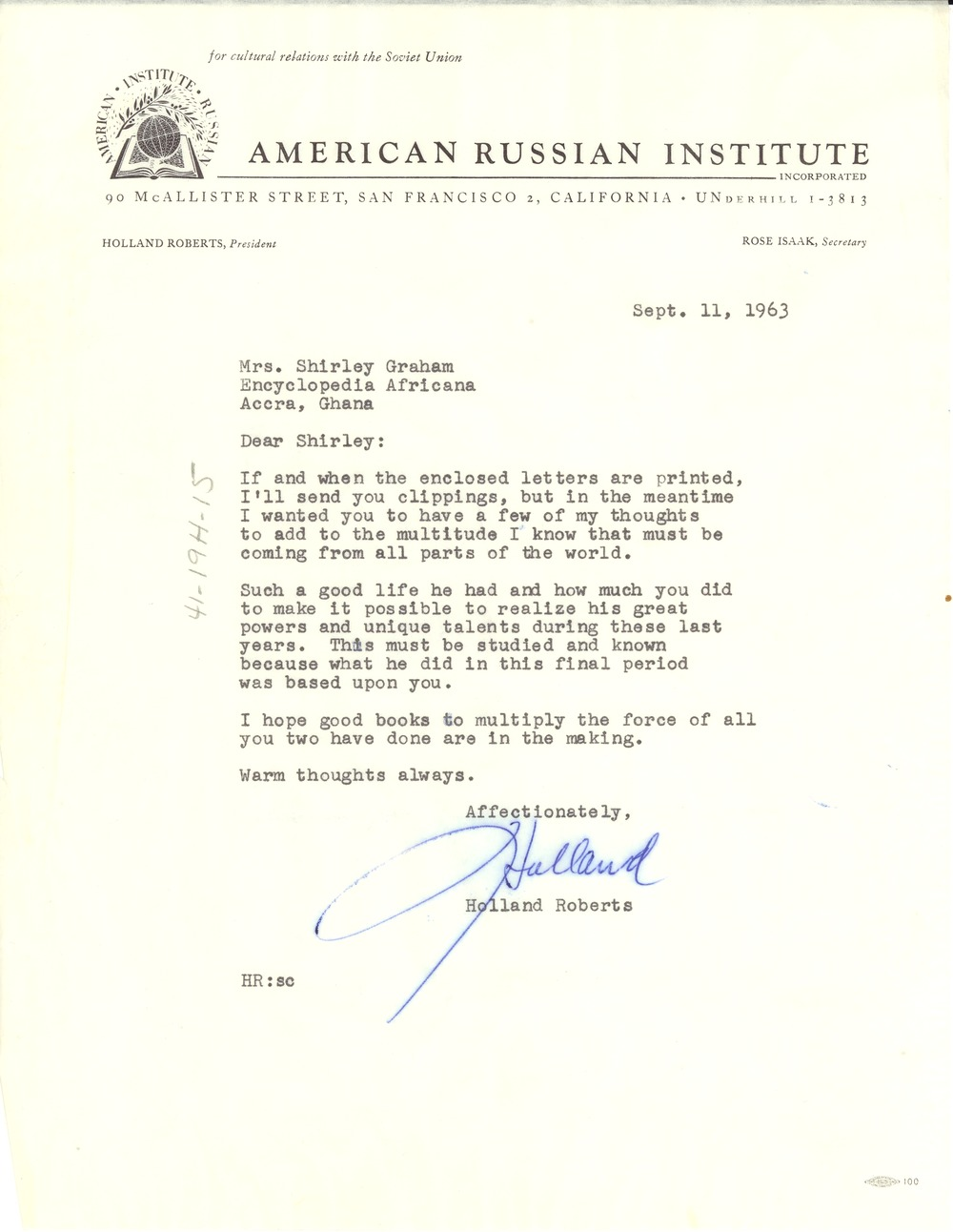 Letter from American Russian Institute to Shirley Graham Du Bois, September 11, 1963