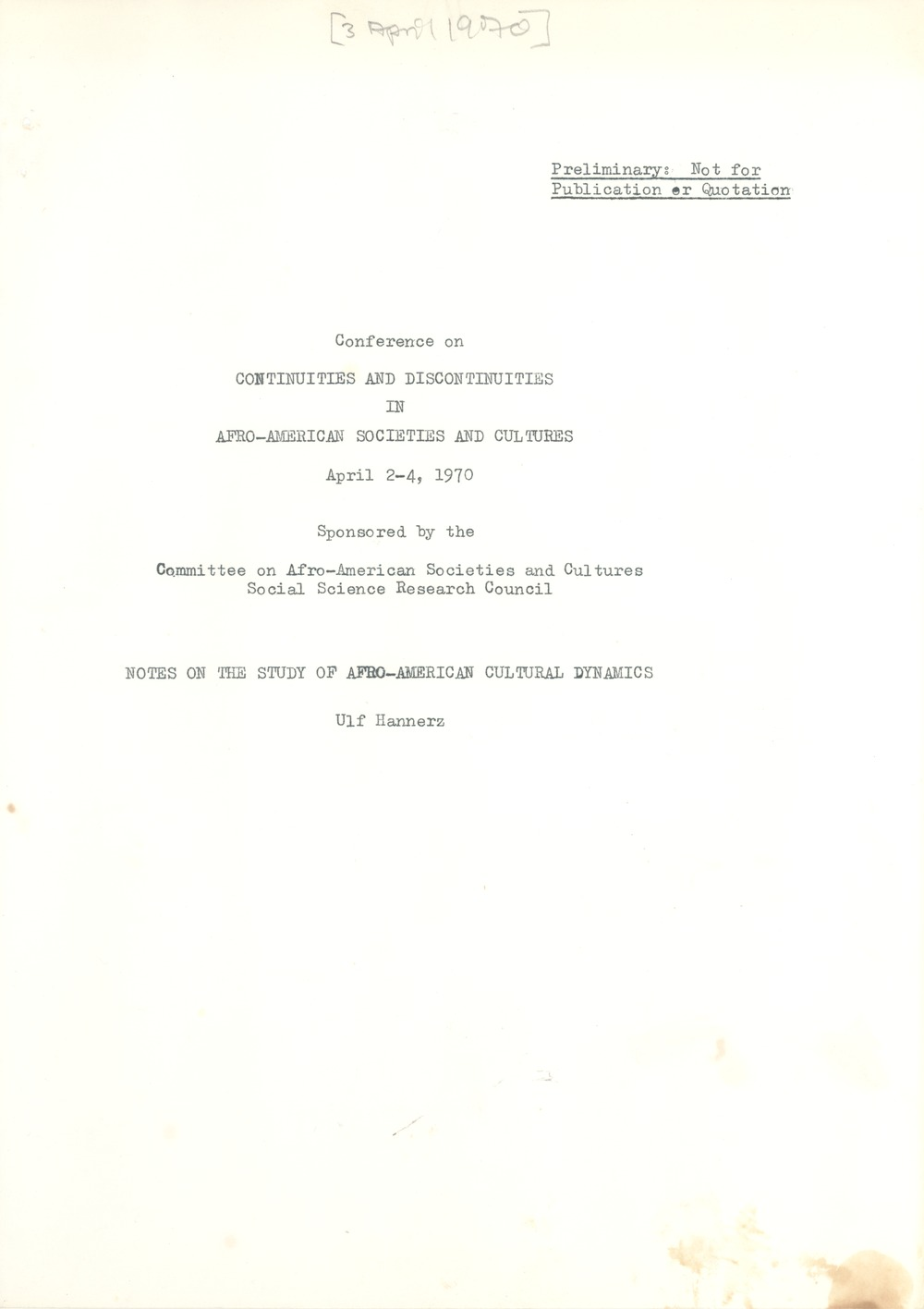 Social Science Research Council (U.S.), April 3, 1970