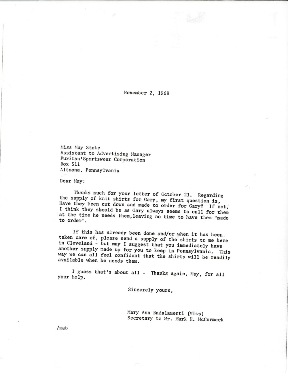 Letter from Mary Ann Badalamenti to May Stoke, November 2, 1968