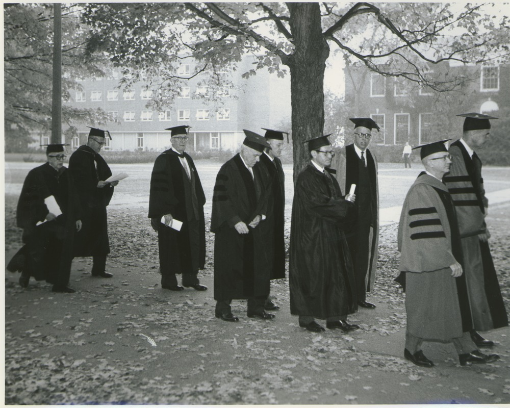 Administrators and local college presidents processing to the Centennial Convocation, October 4, 1962