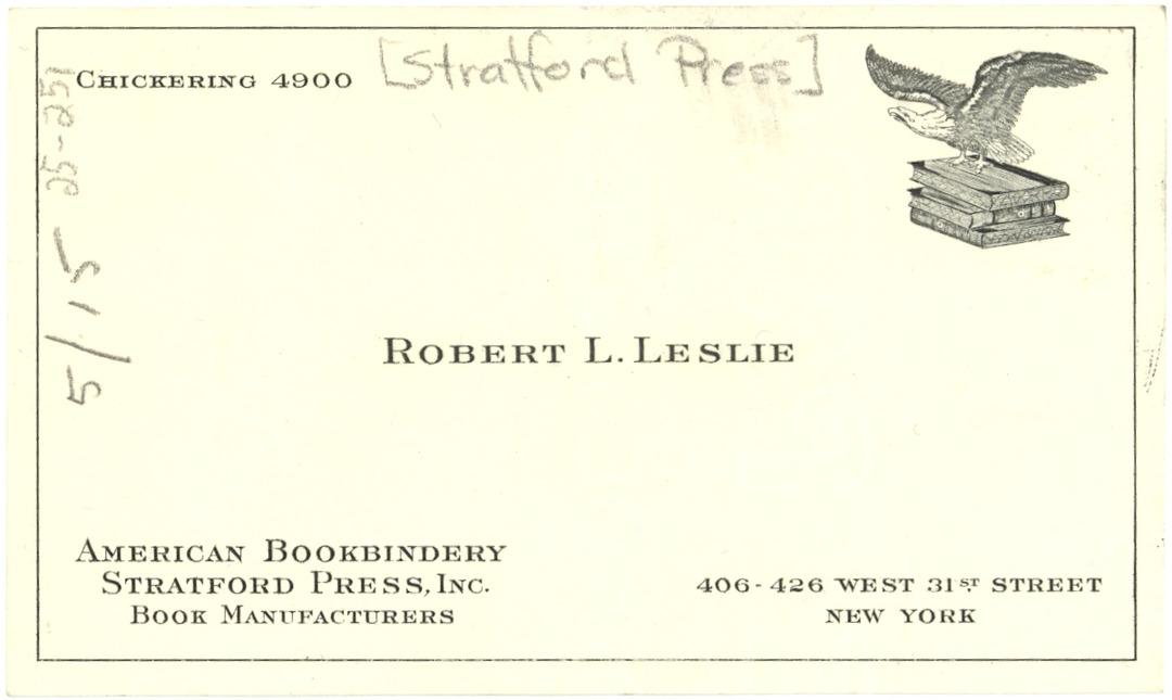 Business Card For Robert L Leslie Ca 1925