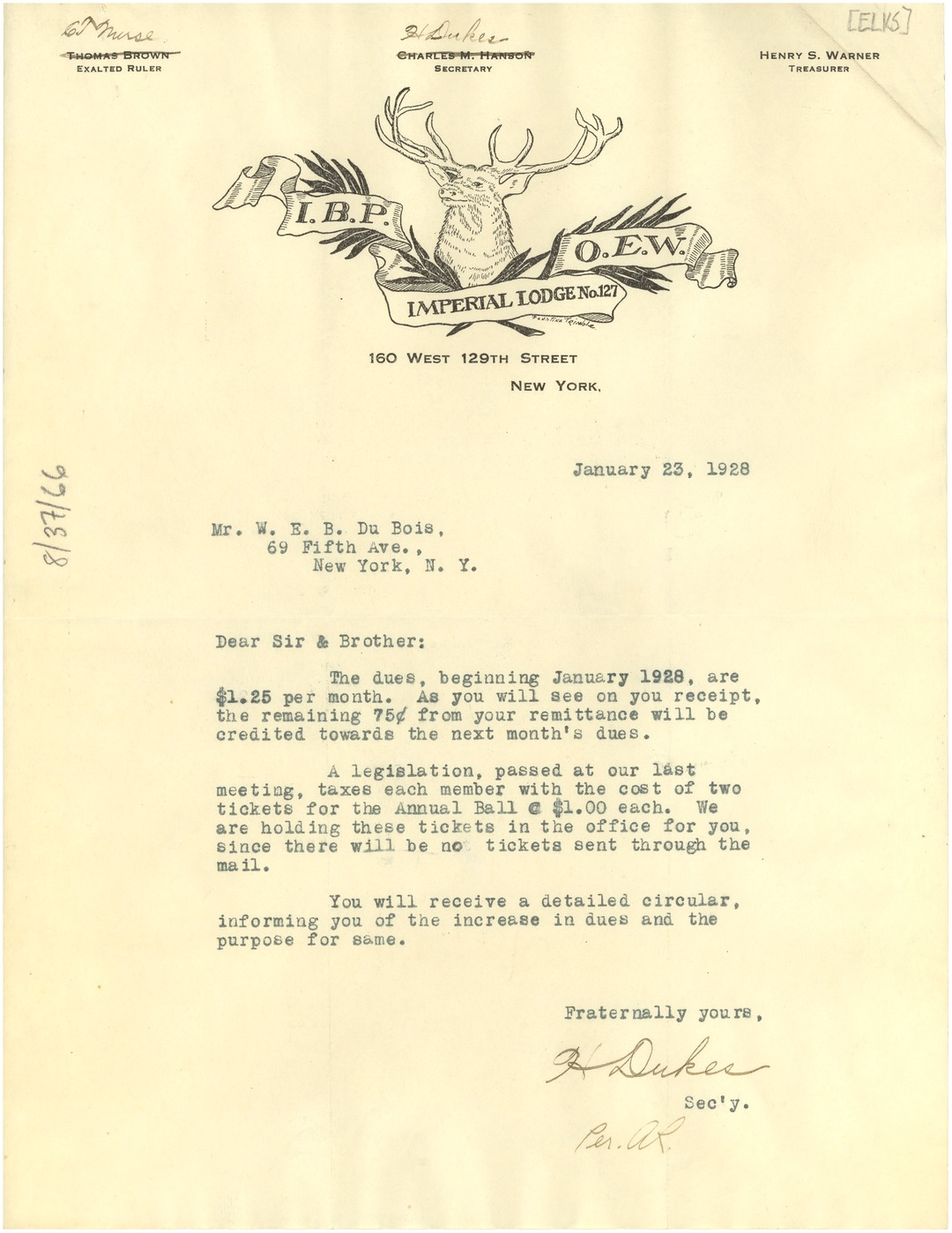 Letter from Elks, Imperial Lodge to W  E  B  Du Bois