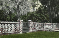 Middleton Gardens, South Carolina (brick Fence, wooden gate, trees)