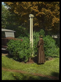 Woman observing bird house, auto and shrub in background