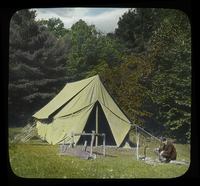 Camp on Mt. Toby (Man and tent)