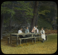 The Picnic Grounds,  Mt. Toby (children sitting at picnic table)