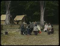 Camp Kansas, Mt. Toby (people sitting around fire at campsite)