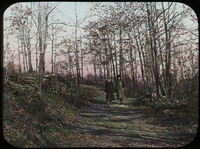 Two woman walking along woodland Path in Autumn