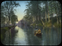 Canoe paddlers on canal along forest