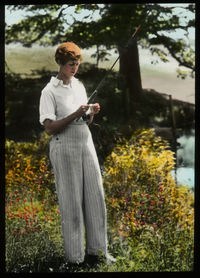 Rebecca Field (woman with fishing rod)