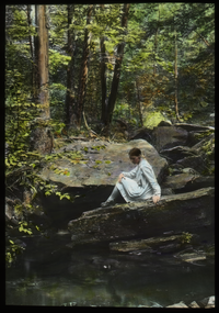Pelham Brook (Girl on rock looking into pool)