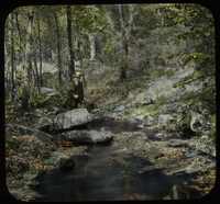 Orient Brook (man fishing in brook pool in the woods)