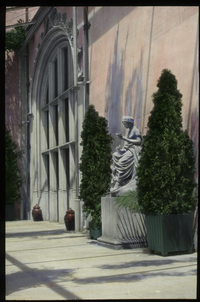 Biltmore Terrace (statue, large potted arborvitae, urns, formal structure)