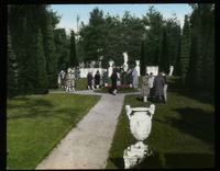 Dakin Garden (cowed of people in formal garden)