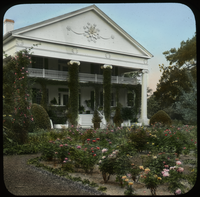 Rose Garden, Thompsonville, Georgia. Estate of harry Payne Whitney (Formal mansion with vine covered columns and porch work)