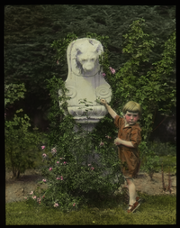 Mrs. John Tyler, Amherst (little boy standing at white stone lion fountain)