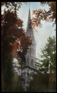 Stone church steeple surrounded by trees