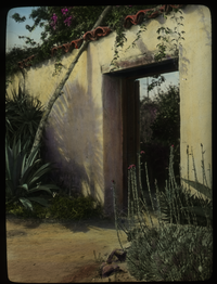 Camona's  (Ramona's?)Marriage Place (stucco wall and doorway, dry soil plants)