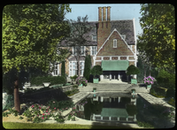 House and Garden at Rye, New York (pool beside formal patio and brick house)