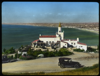 The Inn, Pales Verdes (White stucco building along road overlooking beach)
