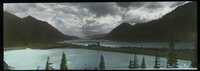 Columbia River (Mountains. Water, clouds, strip of land)