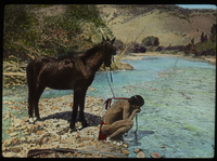 Arizona (Native American drinking at stream, pony, hills, rifle)