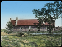 Restored Barracks, Ft. Ticonderoga (stone building, red roof)