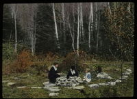 Two woman and child sitting around well (?) by birch forest