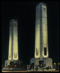 Memorial City Gates Grand Rapids (two flat topped illuminated obelisk- like structures)