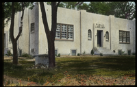 Village Library, Arkansas (white stucco flat- toped building)