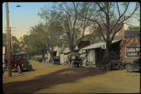 Rowesville, S.CA.  (autos, trees, electrical wires, gas station and other stores lining street )