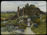 The Dairy Farm near Crewkerne, Somerset (large thatched- roofed cottage with flower garden, woman and child on path)