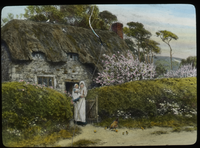 Cottage Gate, Spring(woman with child at garden entrance)