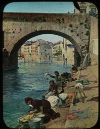 By the Adige, Verona (woman washing laundry in river)
