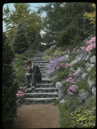 Rock Garden - Hartford (rock steps with man sitting)
