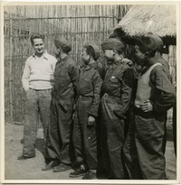 Bailie School in Chengdu [five boys in uniform with Andrew Braid(?)]