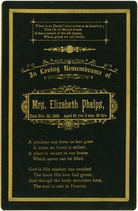 Memorial card for Elizabeth Leach