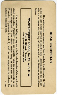 Ancient Order of United Workmen of Mass., Assessment and dues card for membership in Wantastiquet Lodge, No. 71