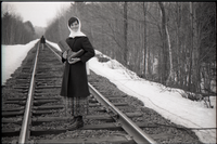 Frye Boots advertising (railroad tracks scene, including Rene Brophy and unidentified commune member)