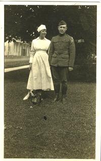 Yeomans, unidentified nurse, and bulldog