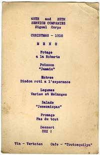 Christmas dinner menu, 1918