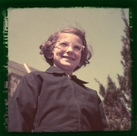 Nina Keller as young girl.  Glass slide 2x2'