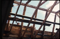 Roofing work on barn, view from inside, Montague