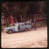 Steve Diamond with Volvo station wagon in front of Montague Farm