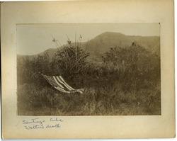 Photographs: Scene of Walter Mason Dickinson's death (El Caney, Cuba), with draped American flag