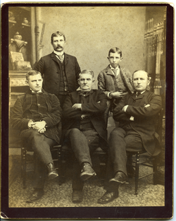 Photographs: Group portrait of Marquis F. Dickinson, Sr., Marquis F. Dickinson, Jr., Walter M. Dickinson, Charles Dickinson, and Asa W. Dickinson (clockwise from center front), linking to the digital object
